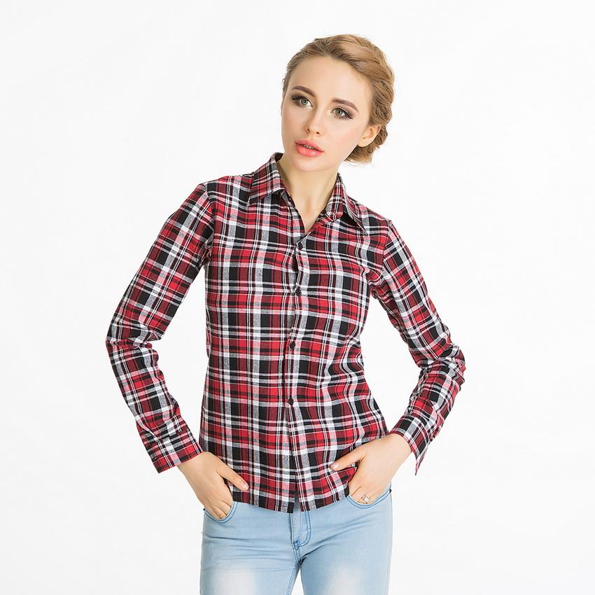 Blouse promotion blusas blusa spring 2016 cotton blend for Lightweight plaid shirt womens