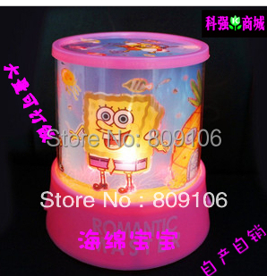 Wholesale ,Free shipping, Festival Gift/SpongeBob Star Projector Lamp / night light(China (Mainland))