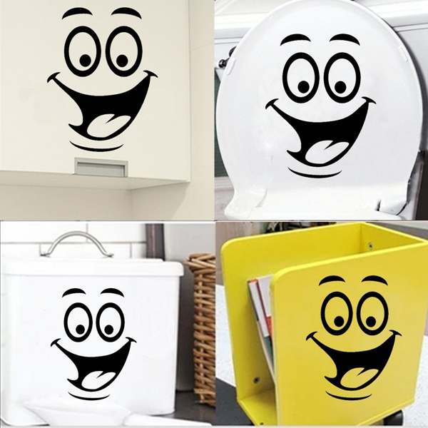 Best Promotion Smiley Face Funny Toilet Bathroom Decal Seat Decor Removable DIY Wall Stickers Lowest Price(China (Mainland))