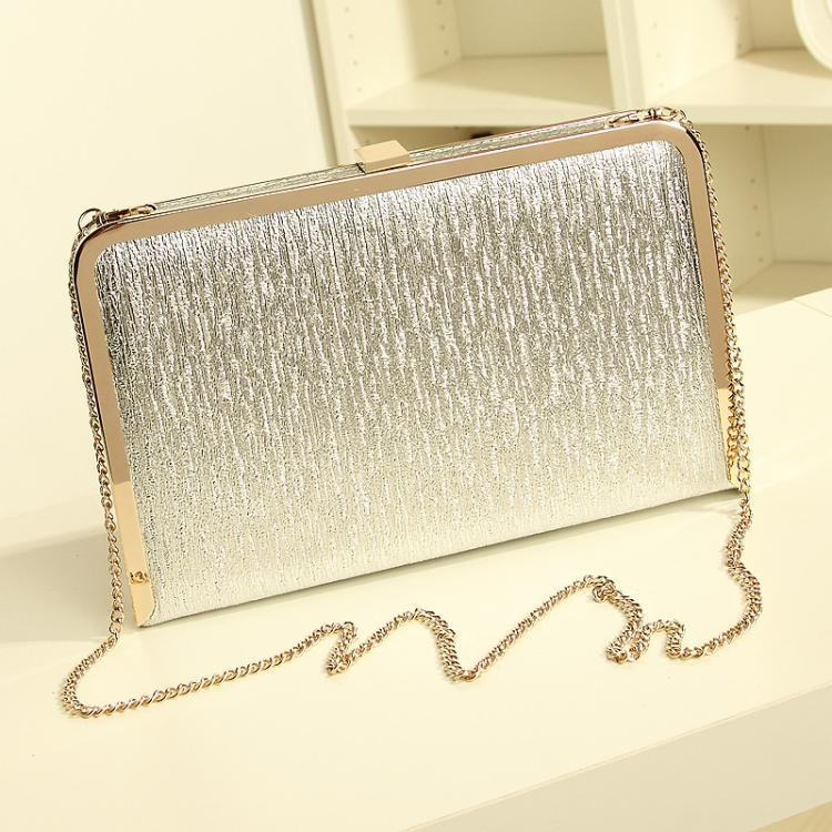 Women Evening Bag Gold Silver Color Party Clutch Box Hot Shimmering Two Size Evening Dinner Purse Wedding Bride PU Leather Bag(China (Mainland))