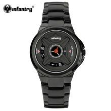 INFANTRY Mens Quartz Watches Luxury Sport Army Analog Wristwatch Black Stainless Steel Military Watches Relogio Masculino 2016