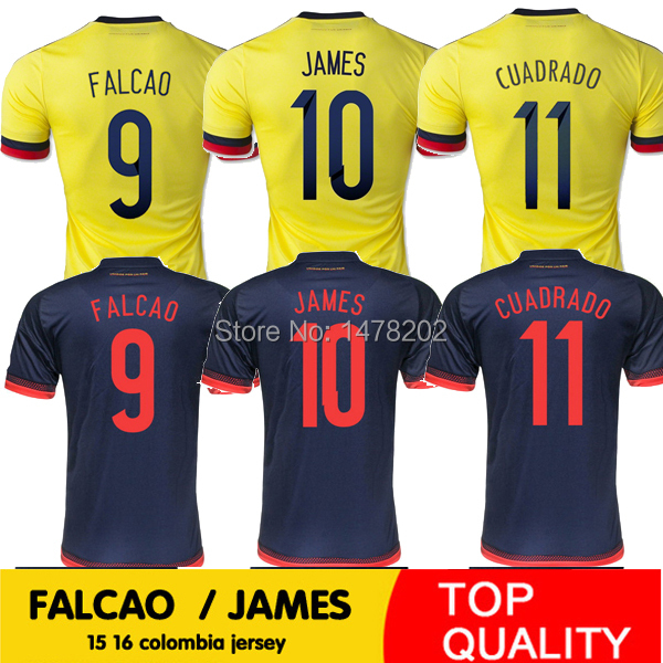 Top Thai 2015 2016 Colombia soccer jersey home away FALCAO Colombia jersey 15 16 JAMES RODRIGUEZ Colombia football soccer shirts(China (Mainland))
