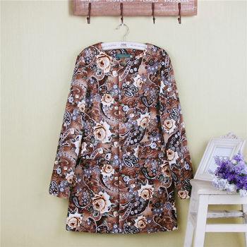 Пальто для женщин хлопок тонкий длинный участок шею длинными рукавами старинные розы ...