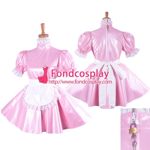Free Shipping lockable Faux leather pink Sissy Maid dress Tailor-madeОдежда и ак�е��уары<br><br><br>Aliexpress