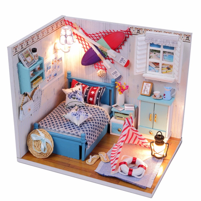 Brand New Hot Hoomeda Summer Romance DIY Wood Dollhouse Miniature Cute Doll Kits Toys With LED Furniture Cover Girls Gift(China (Mainland))
