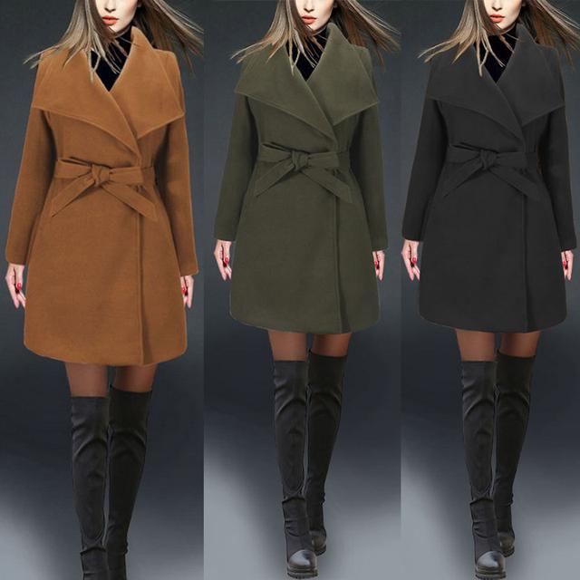 Новые Моды для Женщин Осень Зима Теплая Длинный Тонкий Причинно Твердые Пальто Куртки И Пиджаки