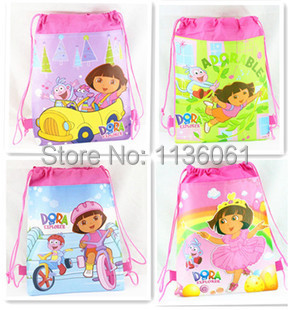 12pcs/1lot dora explorer cartoon children backpack,non-woven drawstring kids school bag, gift for child #507(China (Mainland))