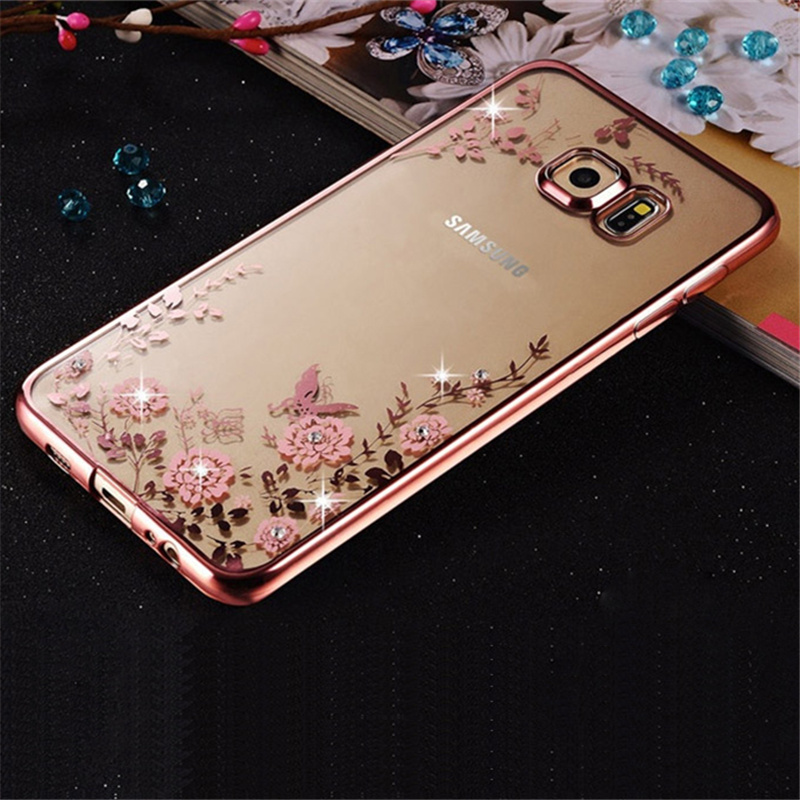 Luxury Plating Clear Soft TPU Cover Case For Samsung Galaxy S6 edge plus / S6 edge / S6 Case Bling Diamond Flower Phone Cases(China (Mainland))