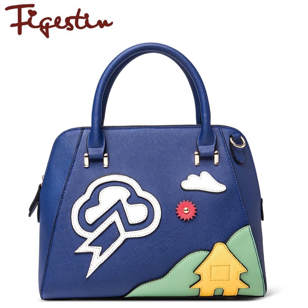FIGESTIN 2016 Girls PU Satchels Famous Designer Brands High Quality Zipper Patchwork Totes Women Shoulder Bag Polyester Medium(China (Mainland))
