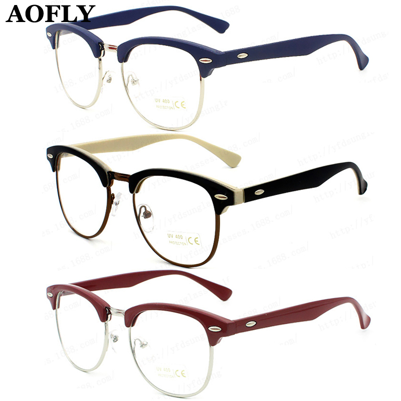 New Retro Clubmaster Wayfarer Clear Lens Nerd Frames Glasses Fashion brand design Mens Womens Vintage Half