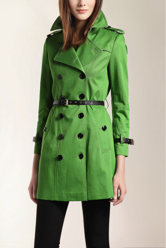 Hot Classic Women Fashion British Long Style Elegant Trench Coat/Designer real leather Belted Double Breasted Trench/Outerwear