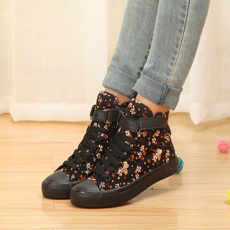 Spring and Autumn new high-top canvas shoes buckle sports shoes sweet preppy student lace flat sneakers #B1683<br><br>Aliexpress