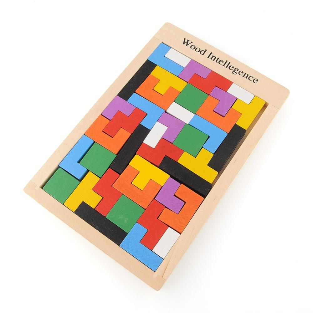 Wooden Tangram Brain Teaser Puzzle Tetris Game Educational Baby Child Kid Toy Free Shipping(China (Mainland))