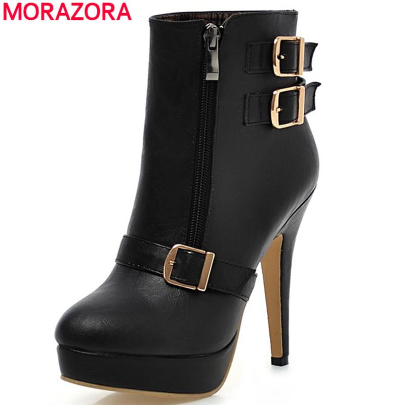 Plus size 2016 new women ankle boots Sexy zipper autumn winter high heels bootgs Platform Martin boots buckle platform shoes(China (Mainland))