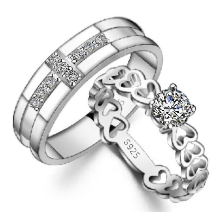 40 Off His And Hers Promise Ring Sets Couple Rings Heart 925 Sterling Silver Wedding Rings