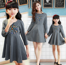 Family Clothes Fashion O-neck A-line Dress with Rhinestone Family Dress for Mother and Daughter Girls/Women Dress DR39