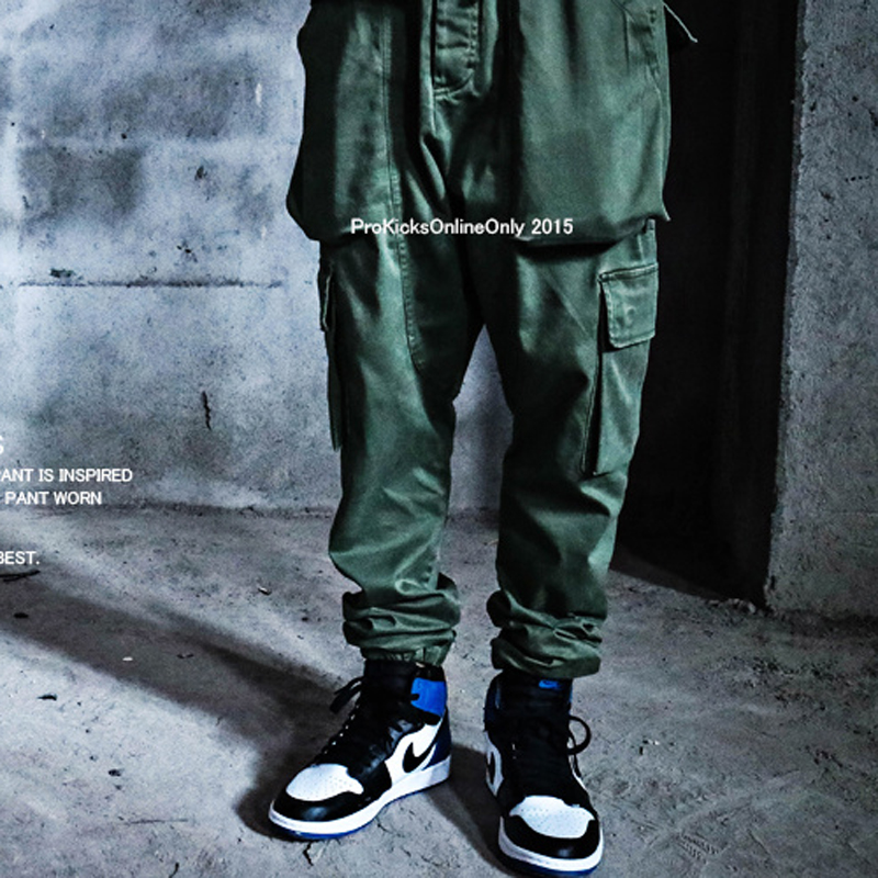 NEW fashion high street male tide pocket casual pants men active sport military green training pants joggers gym shark street(China (Mainland))