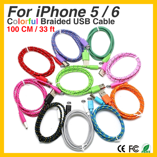 Colorful New 1M Fabric Nylon Braided Micro USB Cable for iPhone 5 6 6 plus For iPad for iPad mini Cloth braided cable(China (Mainland))