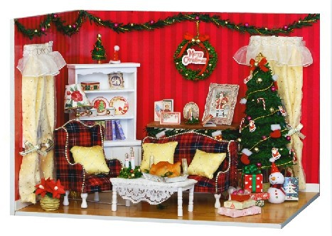 Christmas Gift Diy Doll House Model Building Kits 3D Miniature Dollhouse Handmade Assembly Wooden Dolls -The Perfect Party(China (Mainland))