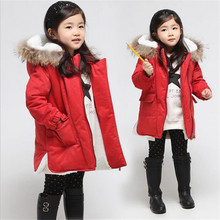 Новые Марка 2 015 Детские Девушки зимние пальто Толстые Мода меха с капюшоном Теплая Девушка Твердые Красный вниз и Parkas куртка Зимняя одежда