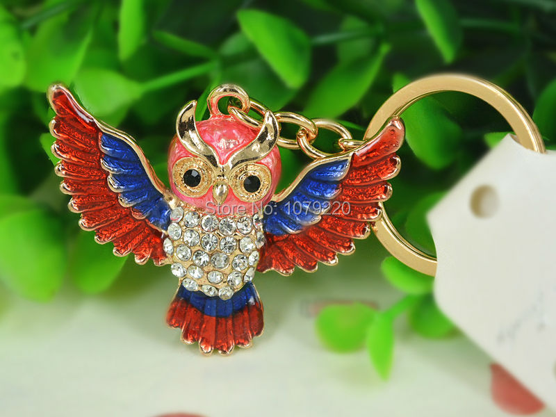 T Owl Red New Keyring Fashion Beauty 18K Gold Plated Rhinestone Crystal Charm Jewellery Women Bag Pendant Car Key Chain Gift(China (Mainland))