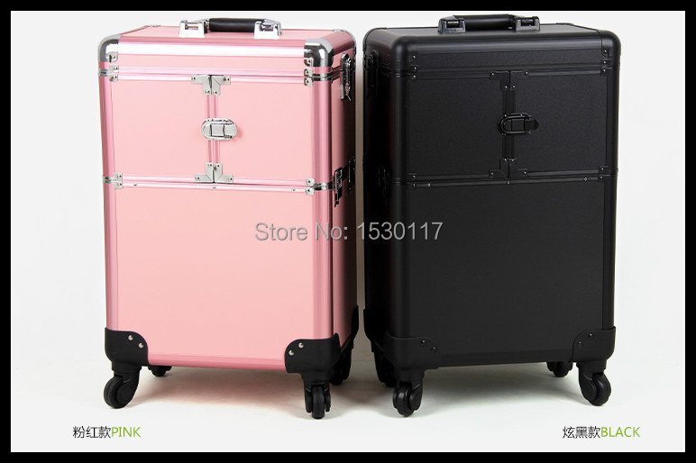 makeup trolley Rolling Makeup Case easy carrying cosmetic trolley case(China (Mainland))