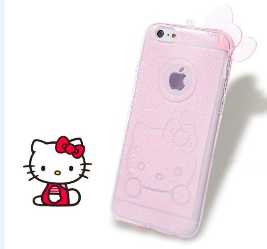 luxury mobile phone case for iphone 6 4.7 inch soft tpu couro hello kitty neck strap ultra thin protective cases pink bowknot(China (Mainland))
