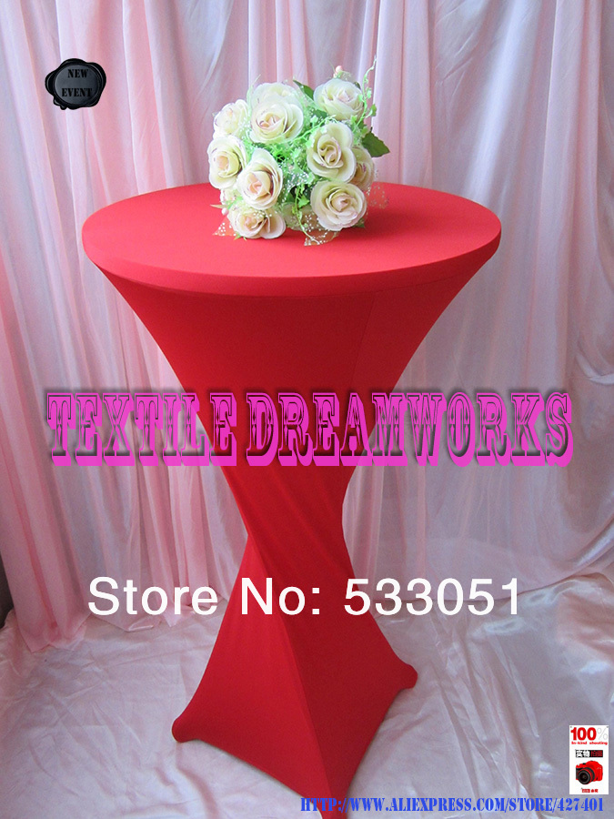 "24"" (R) x 42"" (H) Red1# Color Lycra/Spandex Cocktail Table Cover For Wedding Event & Party Decoration(China (Mainland))"