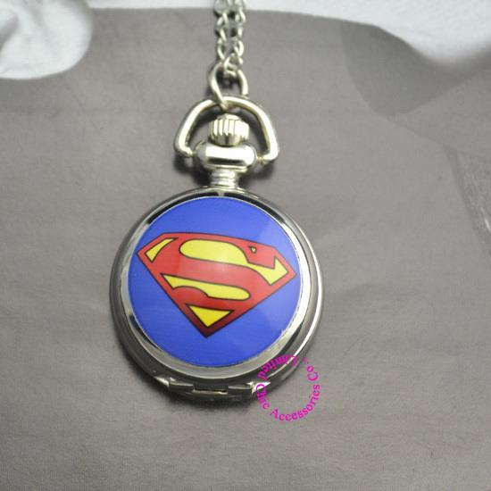 blue DC Superhero the superman Pocket Watch Necklace hour wholesale price good quality new fashion girl
