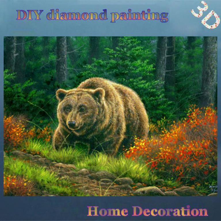 DIY Full Diamond Embroidery Animals Forest grizzly bear home decoration wall decor diamond mosaic Handicraft kit Handmade Gifts(China (Mainland))