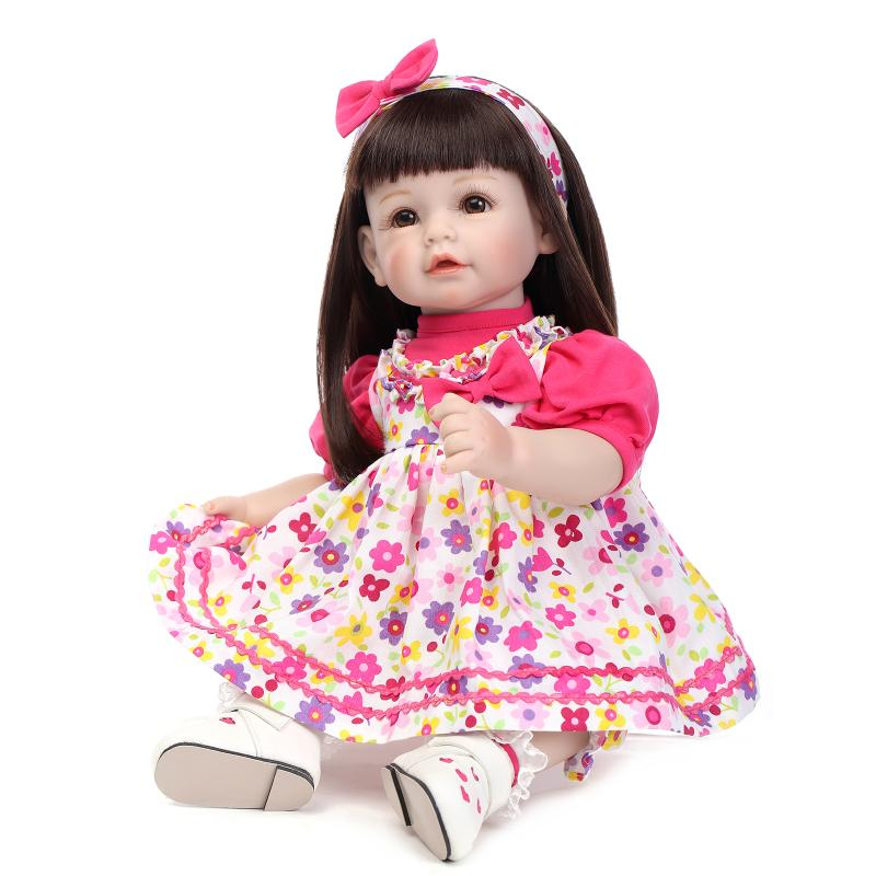 Lovely baby girl reborn dolls toys 52CM size brown long hair bonecas reborn menina birthday gift
