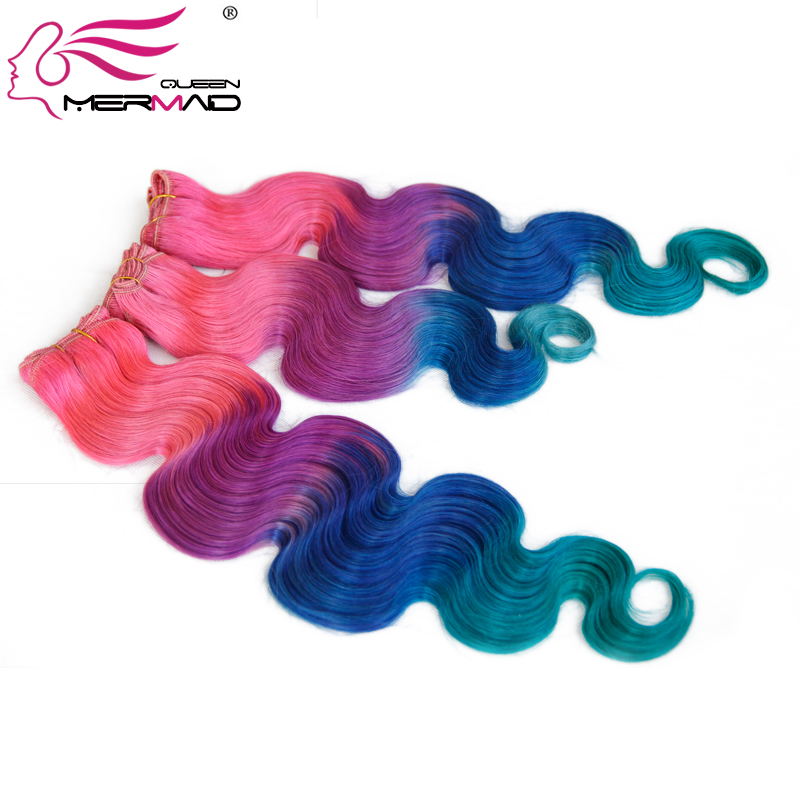 Mermaid Queen Hair Best 7A Ombre Brazilian Hair Body wave 4 Tone Ombre Pink/Purple/Blue/Green,100% human hair Weave Wholesale(China (Mainland))