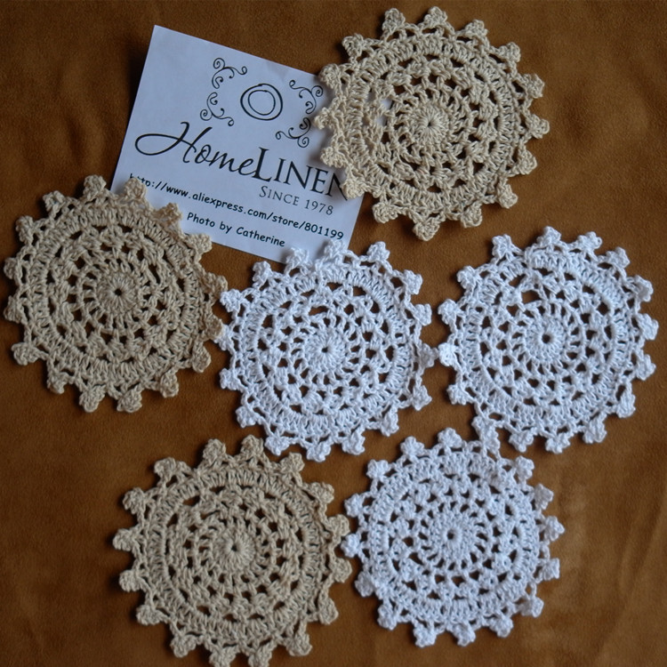 """24Pcs/lot Wholesale Hand made Lace Crochet Cup Mat, Cotton Ecru Doily ,Cup Pad,Coaster ,Embroidery Wedding Decor 10cm(3.94"""")(China (Mainland))"""