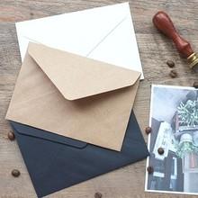 50pcs/set Vintage  Brown White black Kraft blank mini paper window envelopes wedding invitation envelope /gift envelope/3 color(China (Mainland))
