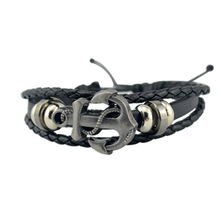 Leather Fashion Male Vintage 2015 New Hot Multilayer Accessories Men Anchor Bracelet  Jewelry Free Shipping