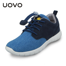 UOVO Light-weight Casual Sport Canvas Denim Elastic Lace Kids Boys Shoes Spring Footwear for Children Little Big Boys Sneakers(China (Mainland))