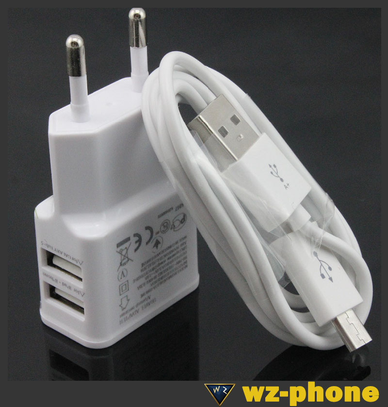 original 2A white/Black Dual 5V USB EU Plug Wall Charger +micro cable Samsung galaxy S1/2/3 Note Mobile Phone - WZ-phone Electronics Co., Ltd. store