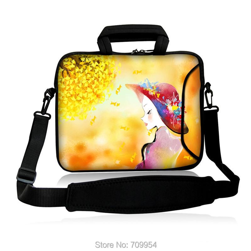 "Neoprene 10""13""14""15""17"" Wear a hat girl Design Notebook Handle Shoulder Sling Bag Messenger Sleeve Case Pouch Carrying For HP(China (Mainland))"