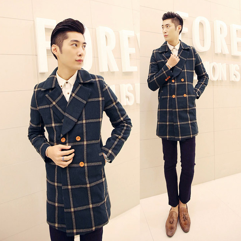 2015 men fashion plaid wool coat male fashion brief dark green plaid trench Wool &amp; BlendsОдежда и ак�е��уары<br><br><br>Aliexpress