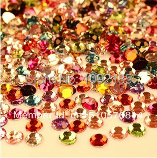 Mixed size mixed color 5000pcs/pack flat back acrylic rhinestones Nail Art Rhinestones - Rhinestone houses store