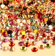 free shipping Mixed size mixed color 5000pcs/pack flat back acrylic rhinestones Nail Art Rhinestones