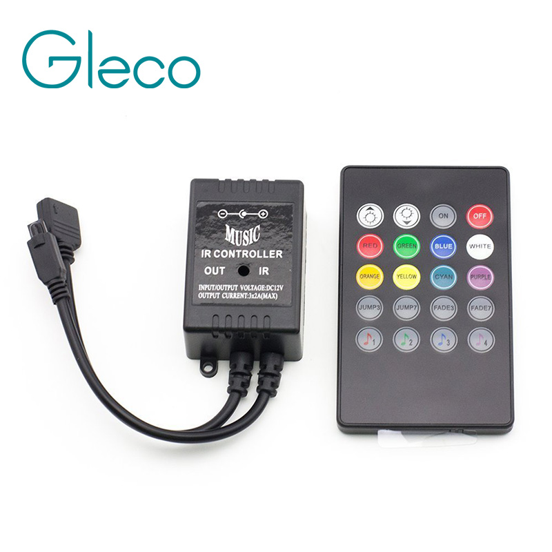 LED Music IR Controller 12V 6A 24 Keys IR Remote Controllers for 3528 5050 RGB LED Strip Lights Mini Controller(China (Mainland))