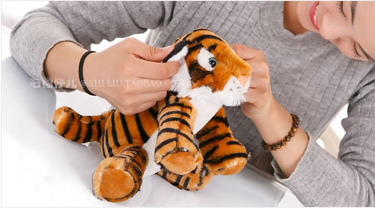 small cute plush yellow tiger toy stuffed lovely tiger doll gift about 25cm 141(China (Mainland))