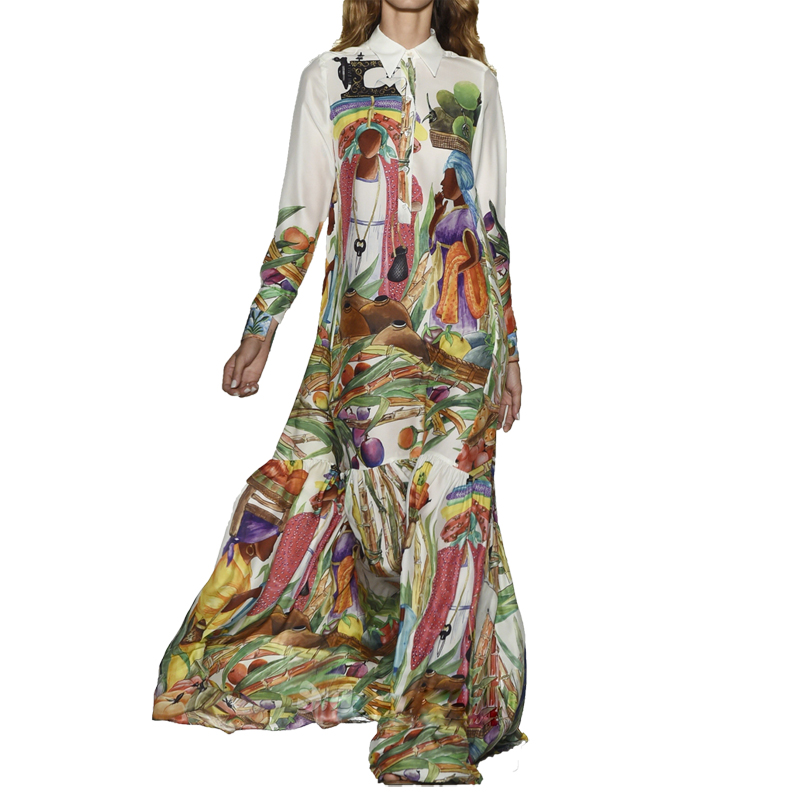 High Quality Newest Fashion Runway Maxi Dress Women's Long Sleeve Retro Art Printed Designer Long Dress Plus size S-XXL(China (Mainland))