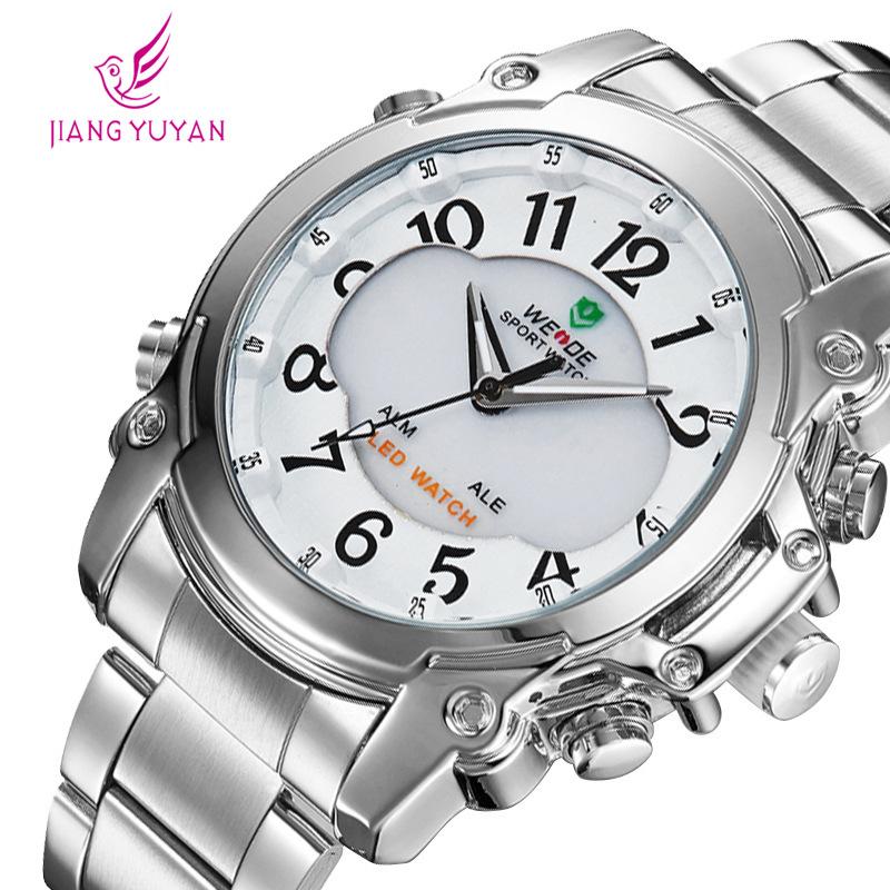 Selling WEIDE watches, multifunctional men quartz watch, LEDA double scale digital wrist watch, waterproof sports business table(China (Mainland))