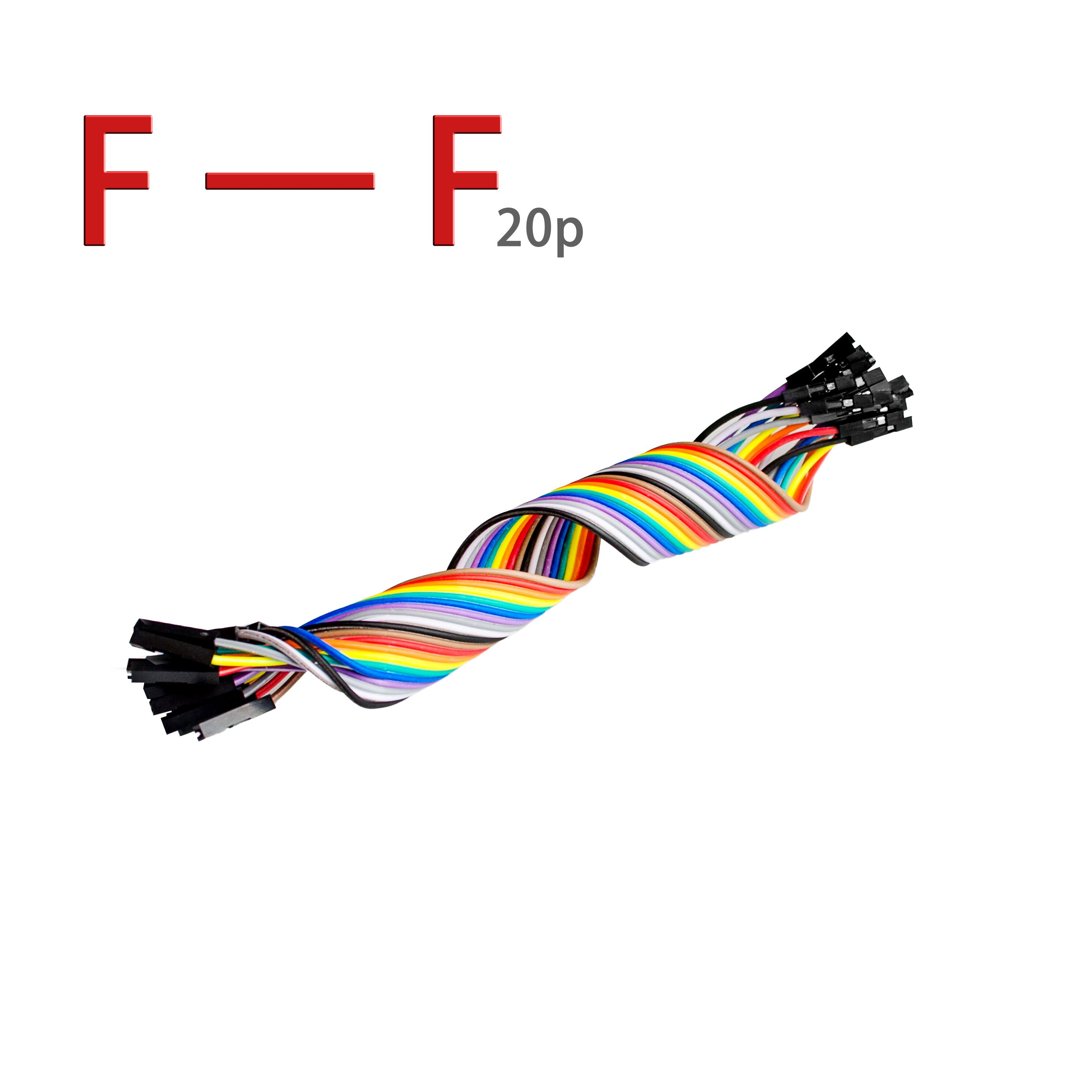 20pcs 20cm 2.54mm 1p-1p Pin Female to Female Color Breadboard Cable Jump Wire Jumper For Arduino(China (Mainland))
