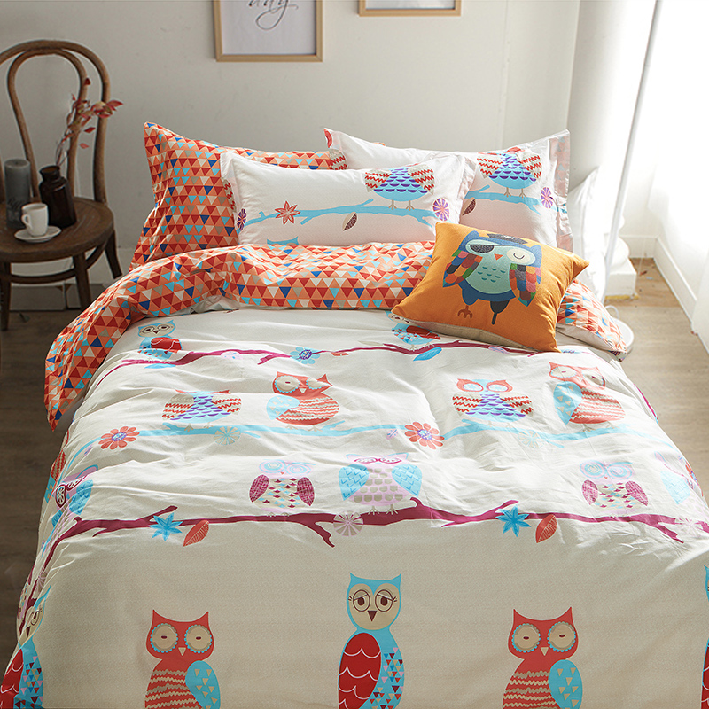 3 Pieces Cotton Cartoon Owl Bedding Sets Kids Bed Set Twin