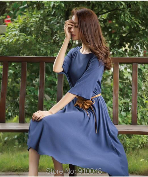 2015 summer new women loose half sleeve linen dress with sashes  mid-calf dress for women  brief dress(China (Mainland))
