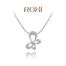 white gold plated fashion butterfly pendant necklace,set with Zircon crystal,christmas gift,ROXI (China (Mainland))