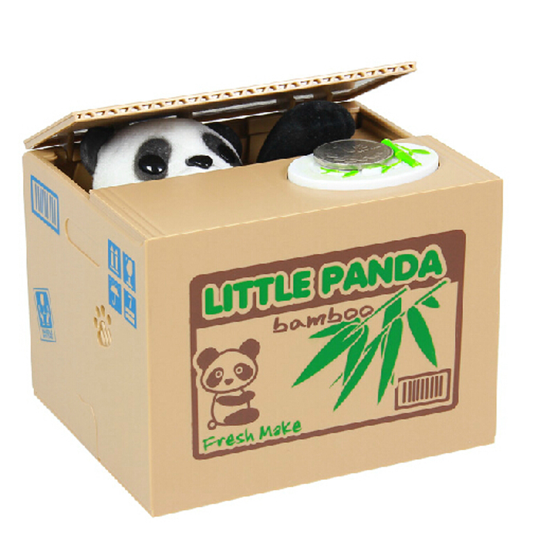 Гаджет  Little panda PVC saving box toy use battery press the button and the coin took by its paw funny saving piggy box ideal kids gift None Игрушки и Хобби